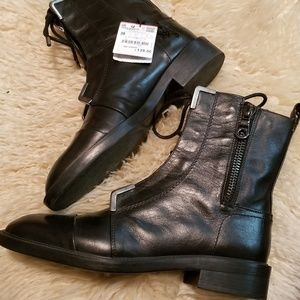 Zara leather combat boots 39/8